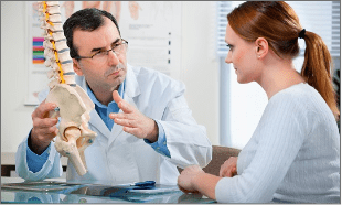 The doctor is explaining the spine pain.